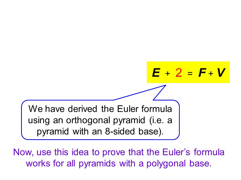Now, use this idea to prove that the Euler's formula works for all pyramids with a polygonal base.