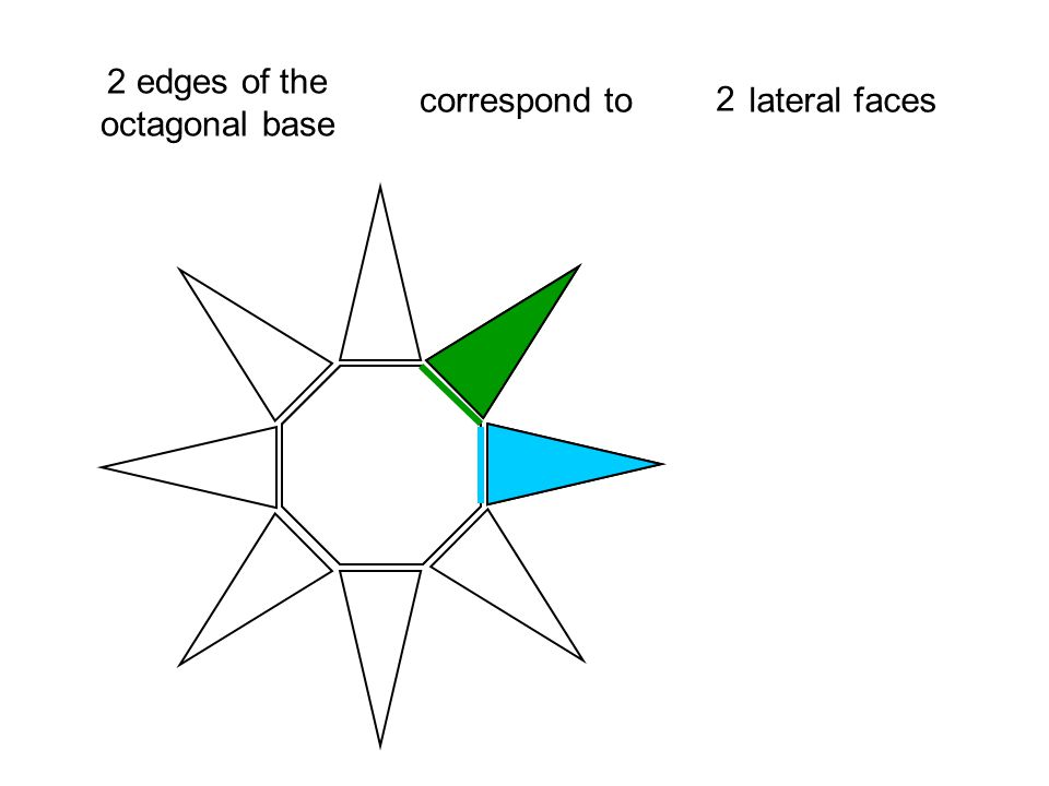 2 2 edges of the octagonal base correspond to lateral faces 3 3