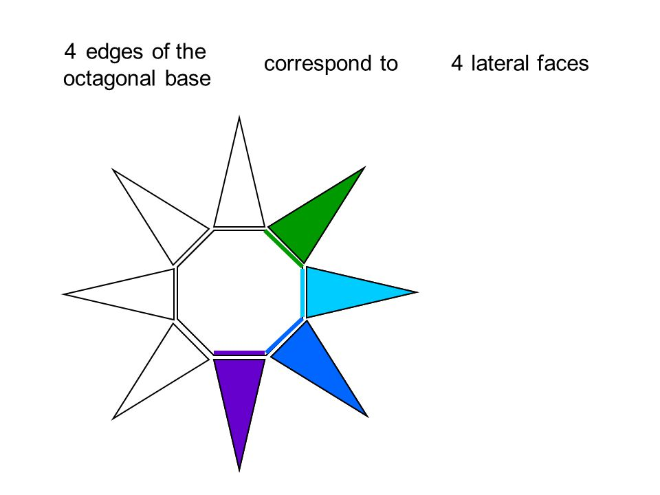 2 edges of the octagonal base correspond to lateral faces 2 3 3 4 4 5 5 6 6 7 7 8 8