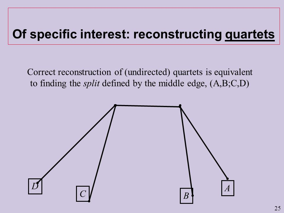 25 Of specific interest: reconstructing quartets D C A B Correct reconstruction of (undirected) quartets is equivalent to finding the split defined by the middle edge, (A,B;C,D)
