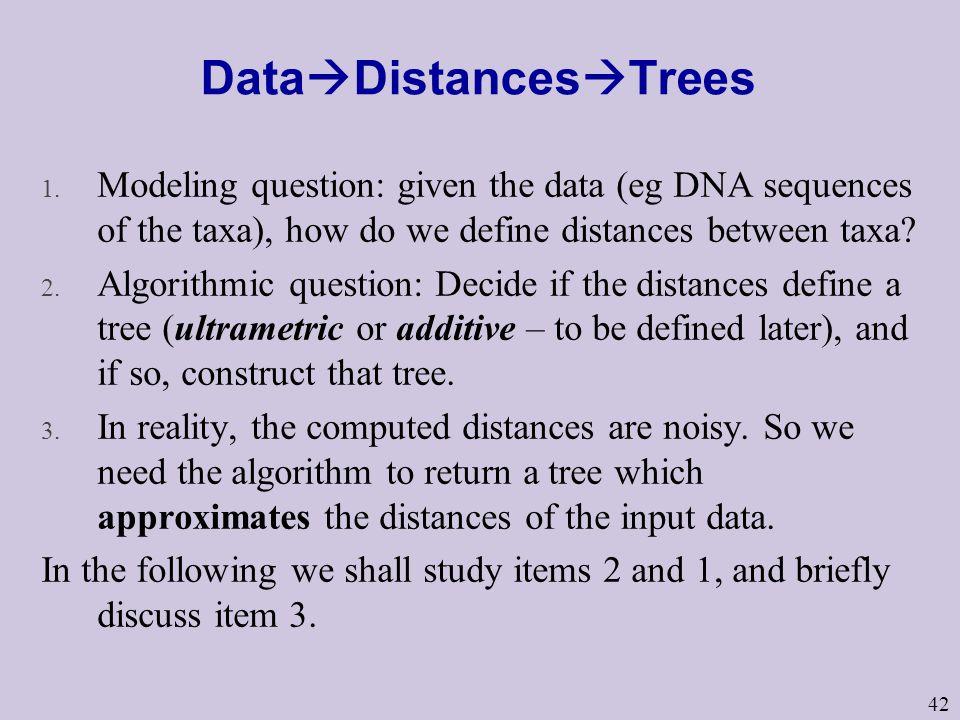 42 Data  Distances  Trees 1.