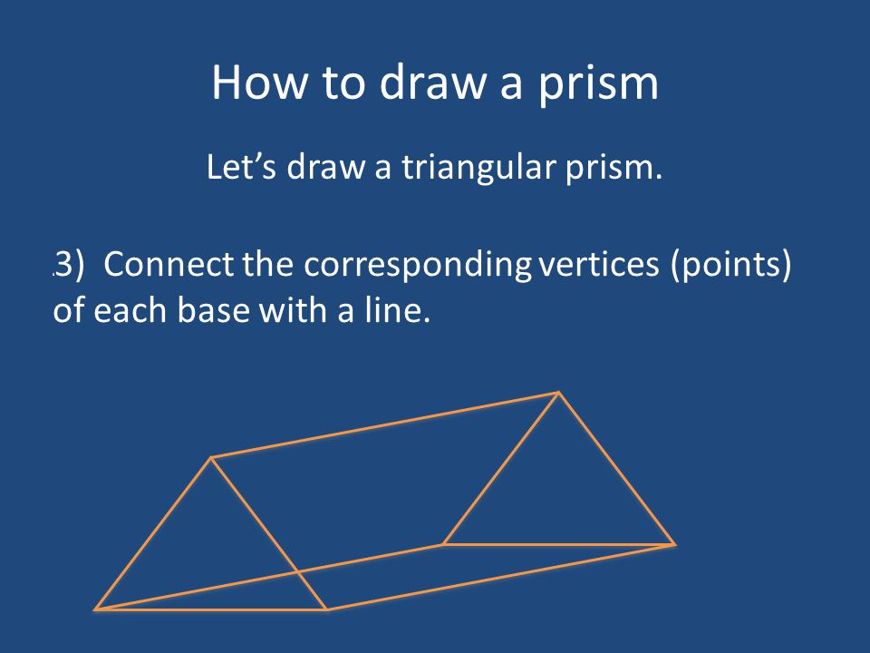 How to draw a prism 3 4) Dot the edges that you would not see from your viewpoint.