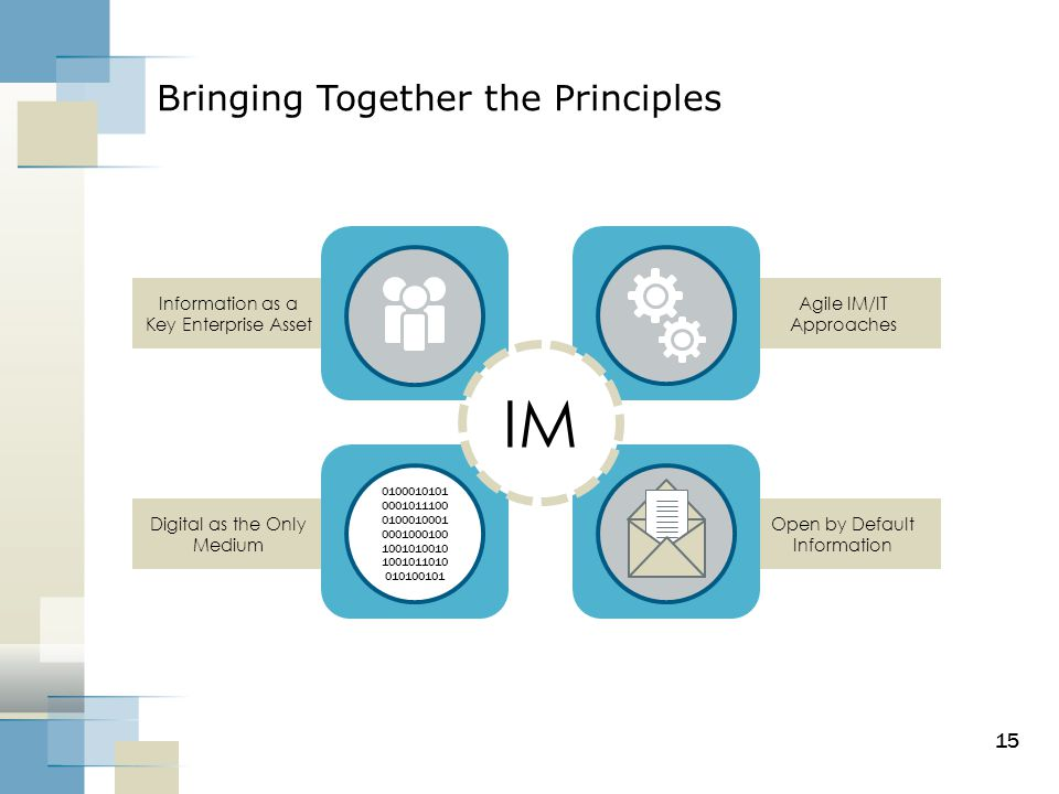 Digital as the Only Medium Information as a Key Enterprise Asset Open by Default Information Agile IM/IT Approaches 15 Bringing Together the Principle