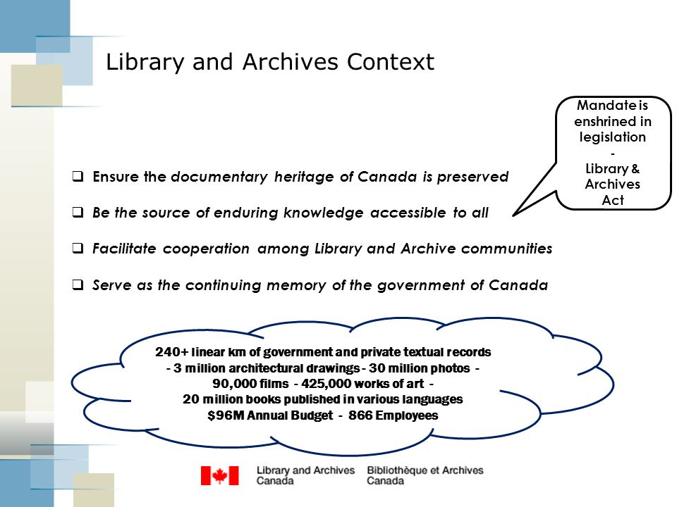 Library and Archives Context  Ensure the documentary heritage of Canada is preserved  Be the source of enduring knowledge accessible to all  Facili