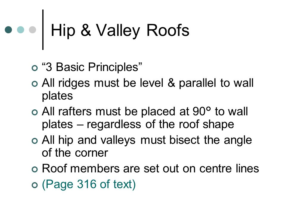 "Hip & Valley Roofs ""3 Basic Principles"" All ridges must be level & parallel to wall plates All rafters must be placed at 90° to wall plates – regardle"