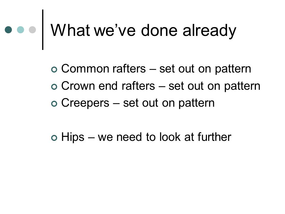 What we've done already Common rafters – set out on pattern Crown end rafters – set out on pattern Creepers – set out on pattern Hips – we need to loo