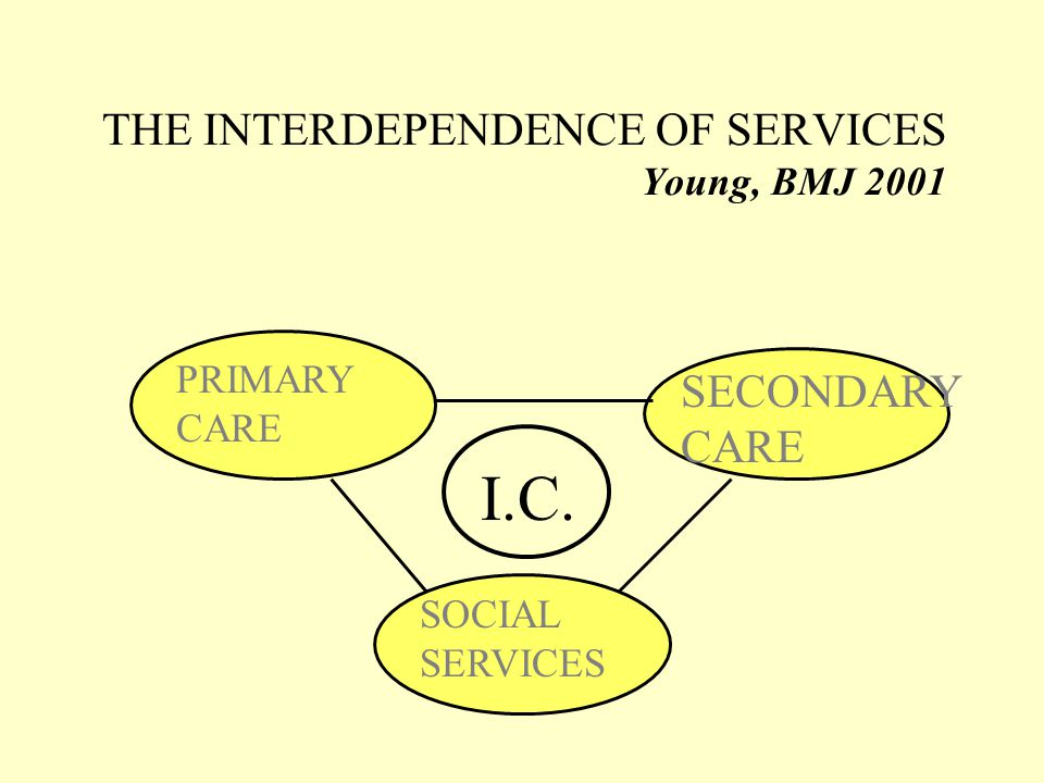 THE INTERDEPENDENCE OF SERVICES Young, BMJ 2001 PRIMARY CARE SECONDARY CARE SOCIAL SERVICES I.C.