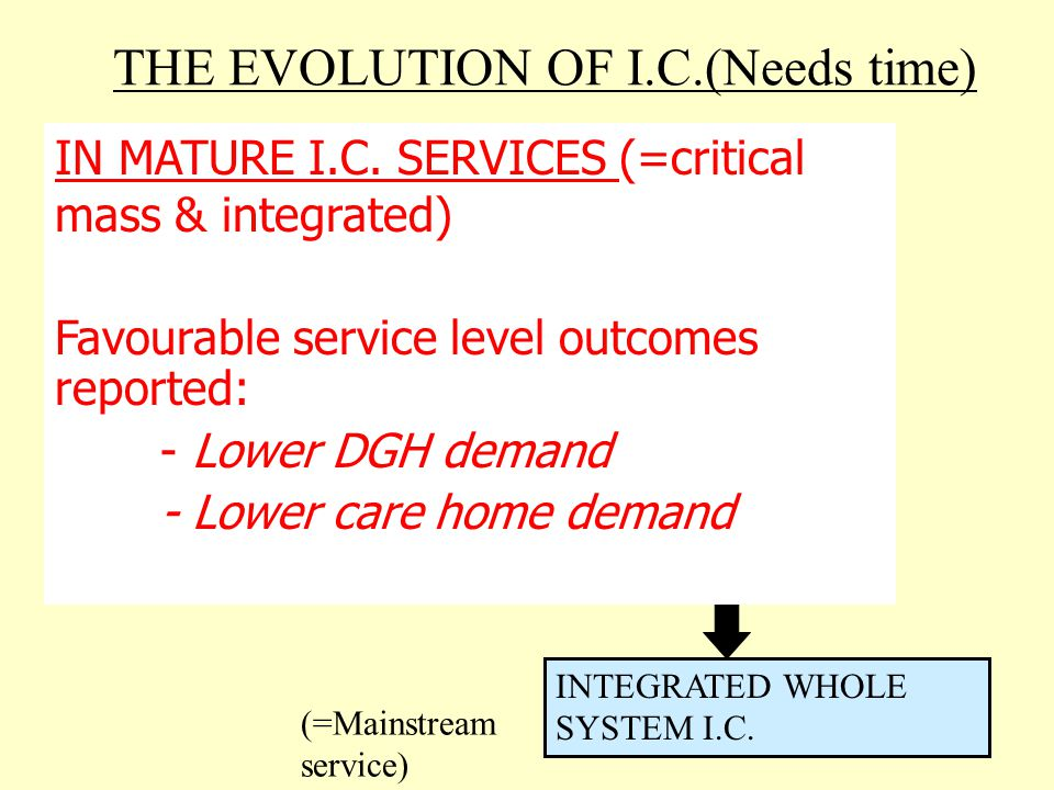 THE EVOLUTION OF I.C.(Needs time) EMBRYONIC SERVICE(S) DEFINED I.C.