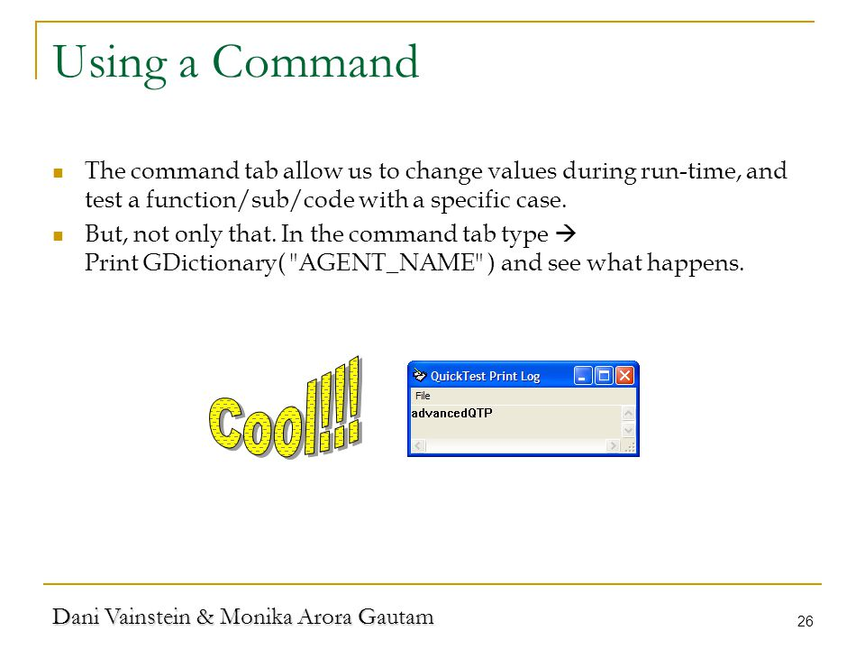 Dani Vainstein & Monika Arora Gautam 26 Using a Command The command tab allow us to change values during run-time, and test a function/sub/code with a