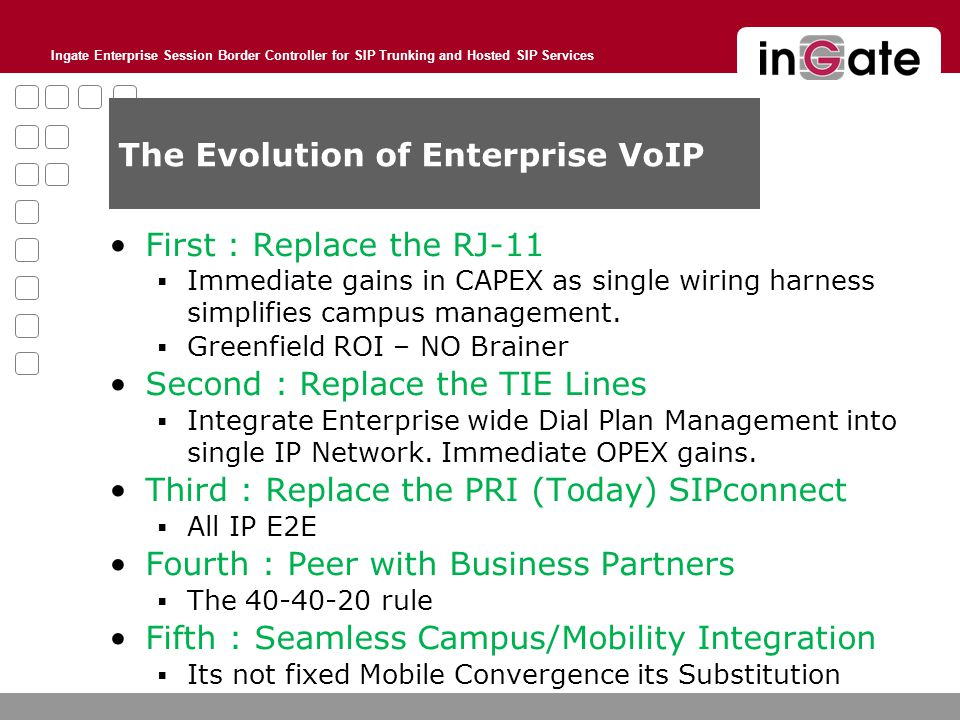 Ingate Enterprise Session Border Controller for SIP Trunking and Hosted SIP Services The Evolution of Enterprise VoIP First : Replace the RJ-11  Immediate gains in CAPEX as single wiring harness simplifies campus management.