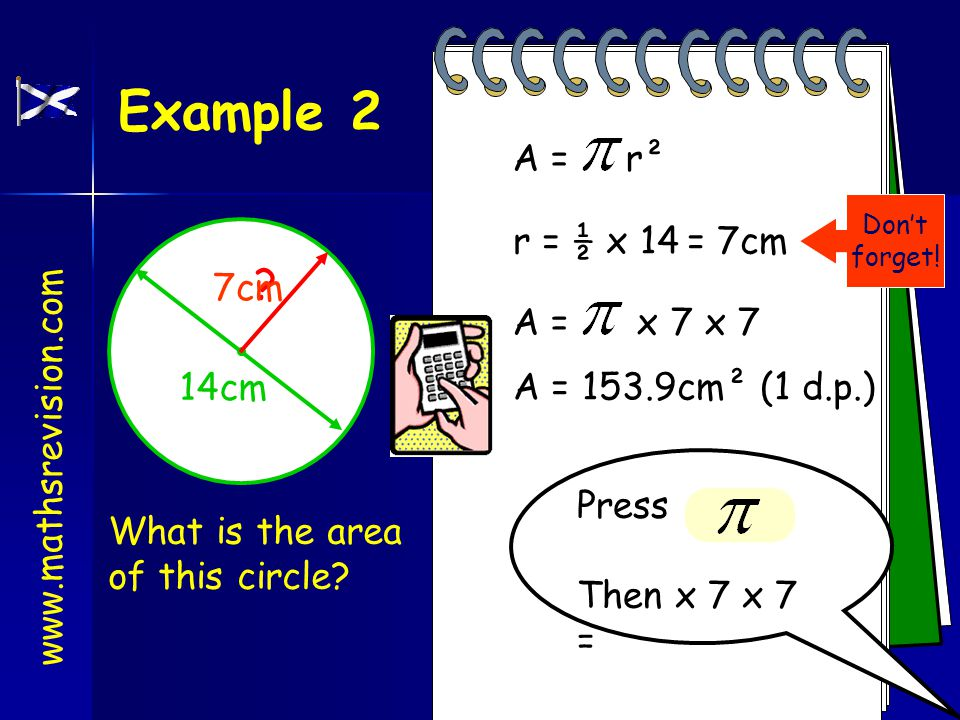 Example 1 What is the area of this circle.