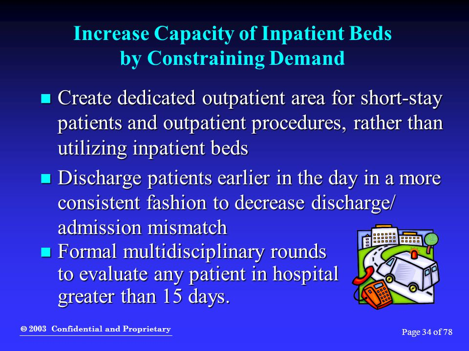 2003 Confidential and Proprietary Page 34 of 78 Increase Capacity of Inpatient Beds by Constraining Demand Create dedicated outpatient area for shor