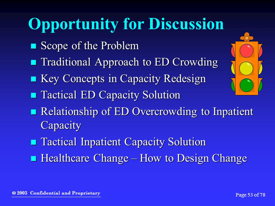  2003 Confidential and Proprietary Page 53 of 78 Opportunity for Discussion Scope of the Problem Scope of the Problem Traditional Approach to ED Crow