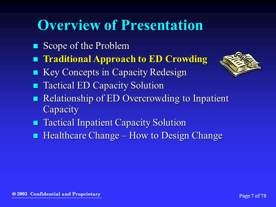  2003 Confidential and Proprietary Page 8 of 78 Traditional Approach for Improvement We'll fix the ED if you give us more: We'll fix the ED if you give us more:  Space  Staff  Information technology We can't fix our ED due to: We can't fix our ED due to:  Demographics of our population  Unpredictable volume surges