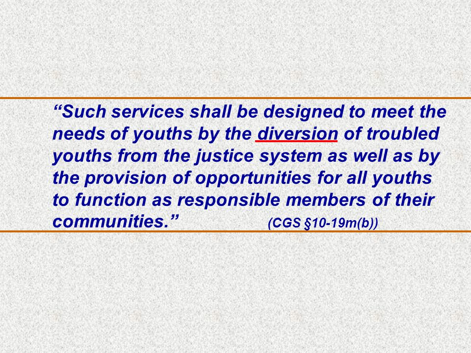 Such services shall be designed to meet the needs of youths by the diversion of troubled youths from the justice system as well as by the provision of opportunities for all youths to function as responsible members of their communities. (CGS §10-19m(b))