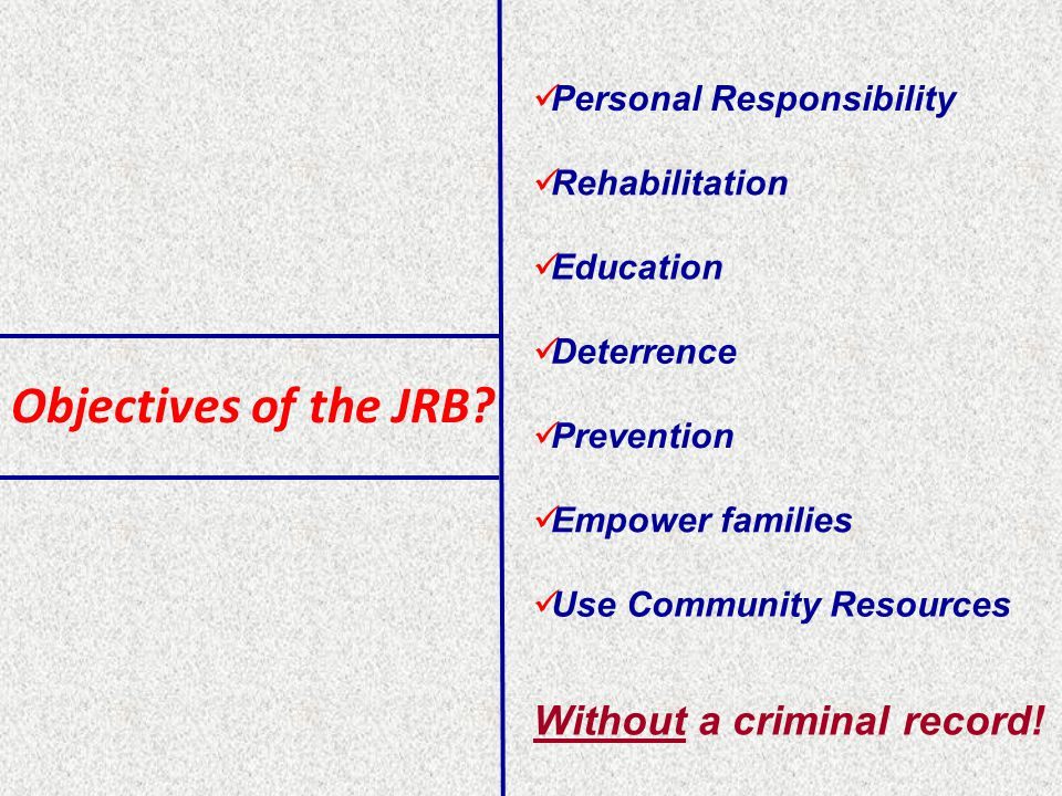 Objectives of the JRB.