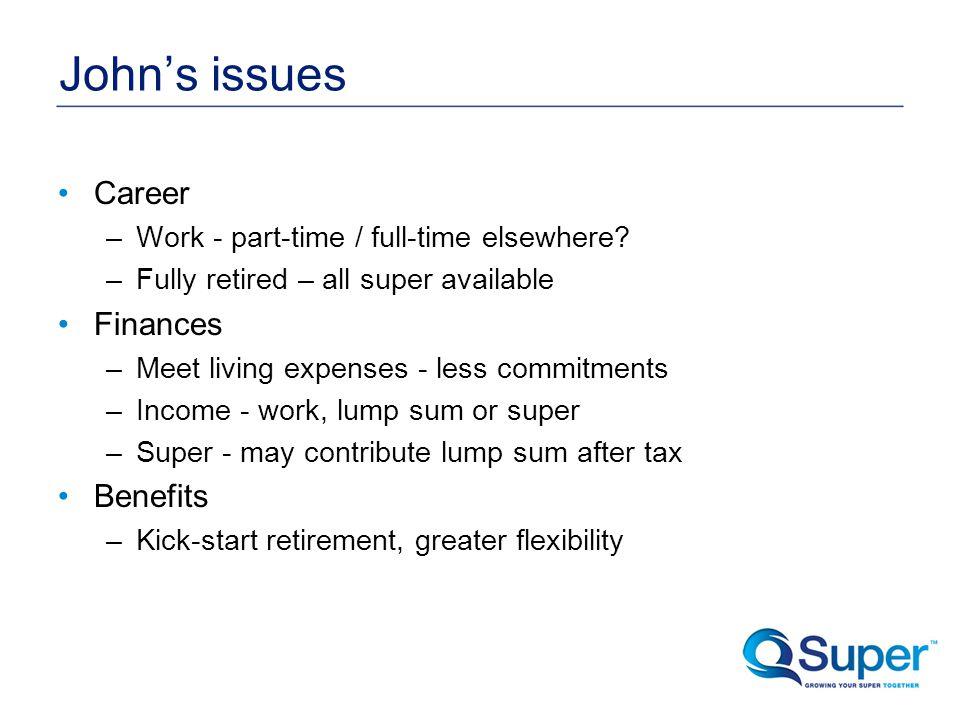 John's issues Career –Work - part-time / full-time elsewhere.