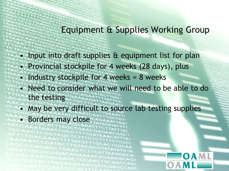 Equipment & Supplies Working Group Input into draft supplies & equipment list for plan Provincial stockpile for 4 weeks (28 days), plus Industry stockpile for 4 weeks = 8 weeks Need to consider what we will need to be able to do the testing May be very difficult to source lab testing supplies Borders may close