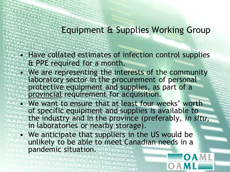 Equipment & Supplies Working Group Have collated estimates of infection control supplies & PPE required for a month.