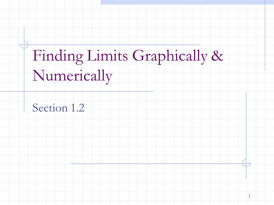 1 Finding Limits Graphically & Numerically Section 1.2