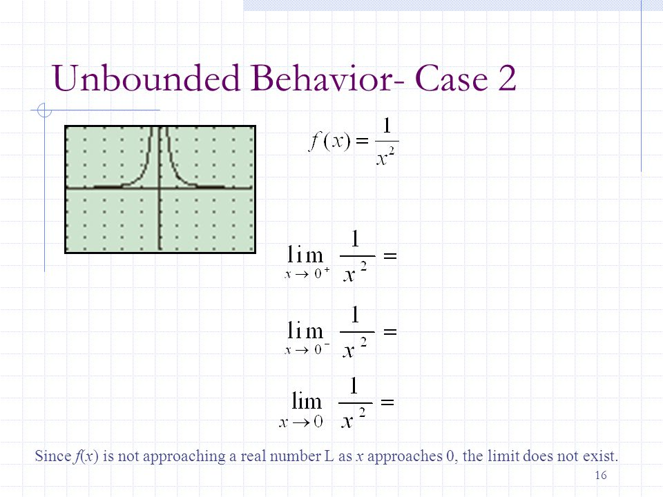 16 Unbounded Behavior- Case 2 Since f(x) is not approaching a real number L as x approaches 0, the limit does not exist.