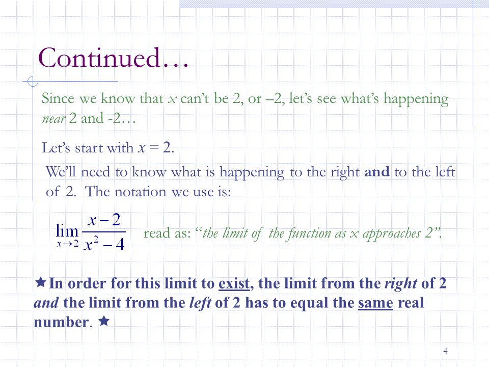 15 Limit Differs From the Right and Left- Case 1 The limits from the right and the left do not equal the same number, therefore the limit ____________________________________.