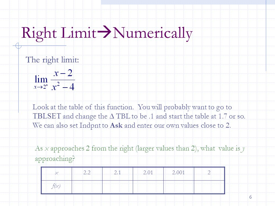 7 Left Limit  Numerically The left limit: Again, look at the table.