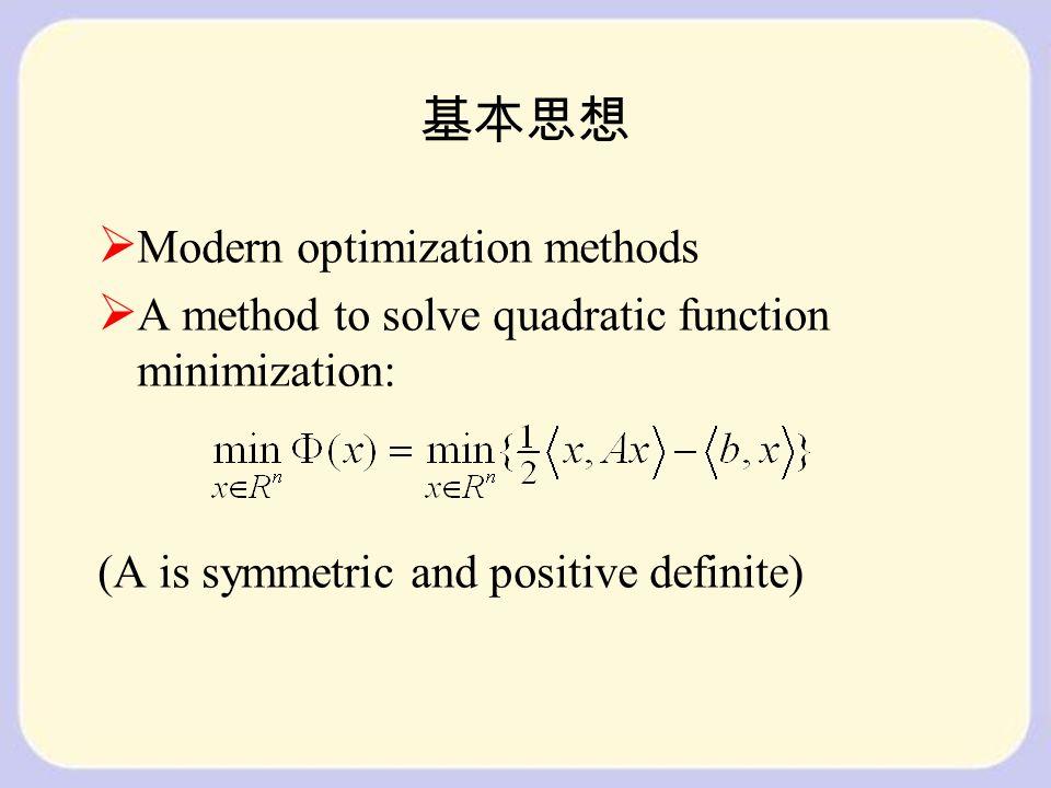 基本思想  Modern optimization methods  A method to solve quadratic function minimization: (A is symmetric and positive definite)
