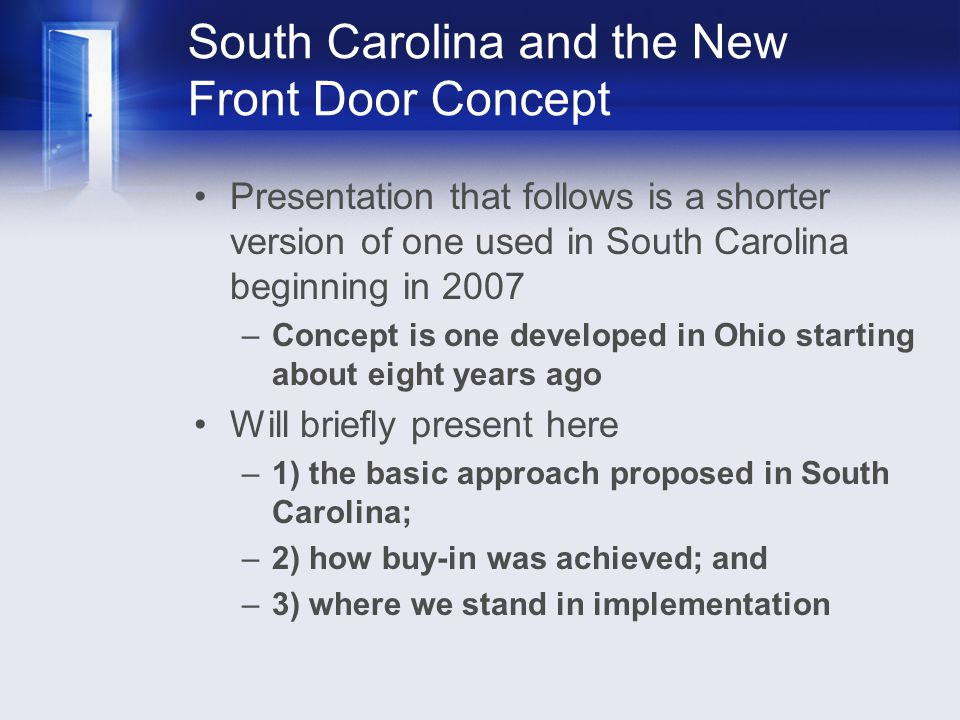 South Carolina and the New Front Door Concept Presentation that follows is a shorter version of one used in South Carolina beginning in 2007 –Concept
