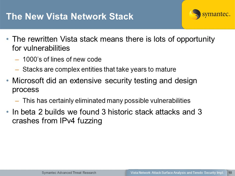 Symantec Advanced Threat ResearchVista Network Attack Surface Analysis and Teredo Security Impl.10 The New Vista Network Stack The rewritten Vista stack means there is lots of opportunity for vulnerabilities –1000's of lines of new code –Stacks are complex entities that take years to mature Microsoft did an extensive security testing and design process –This has certainly eliminated many possible vulnerabilities In beta 2 builds we found 3 historic stack attacks and 3 crashes from IPv4 fuzzing