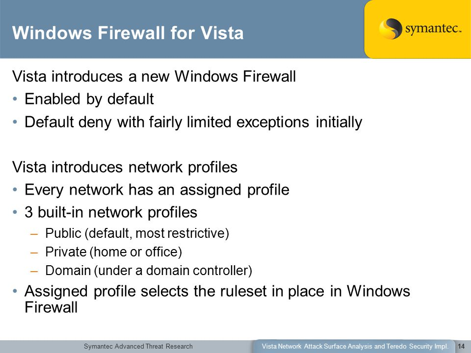 Symantec Advanced Threat ResearchVista Network Attack Surface Analysis and Teredo Security Impl.14 Vista introduces a new Windows Firewall Enabled by default Default deny with fairly limited exceptions initially Vista introduces network profiles Every network has an assigned profile 3 built-in network profiles –Public (default, most restrictive) –Private (home or office) –Domain (under a domain controller) Assigned profile selects the ruleset in place in Windows Firewall Windows Firewall for Vista