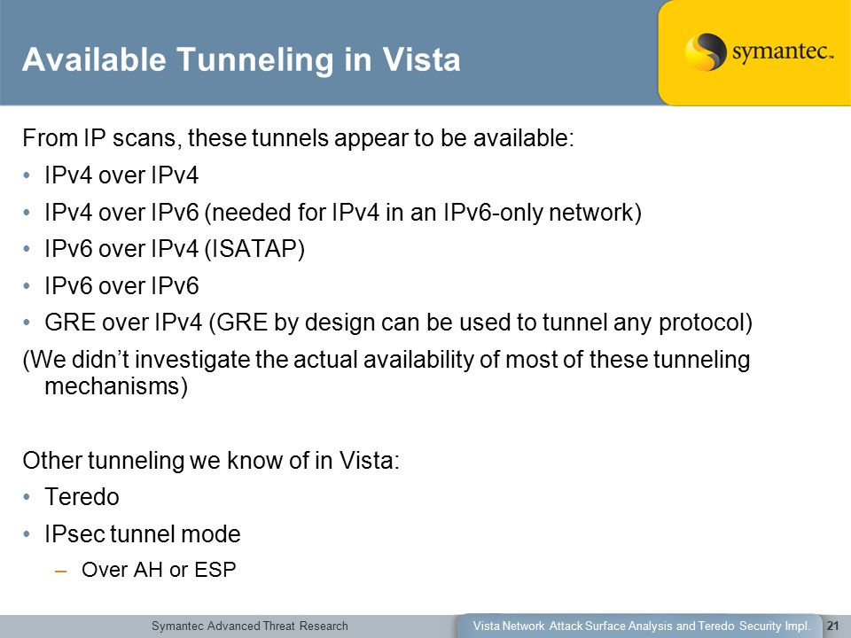 Symantec Advanced Threat ResearchVista Network Attack Surface Analysis and Teredo Security Impl.21 Available Tunneling in Vista From IP scans, these t