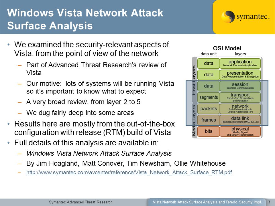 Symantec Advanced Threat ResearchVista Network Attack Surface Analysis and Teredo Security Impl.3 Windows Vista Network Attack Surface Analysis We examined the security-relevant aspects of Vista, from the point of view of the network –Part of Advanced Threat Research's review of Vista –Our motive: lots of systems will be running Vista so it's important to know what to expect –A very broad review, from layer 2 to 5 –We dug fairly deep into some areas Results here are mostly from the out-of-the-box configuration with release (RTM) build of Vista Full details of this analysis are available in: –Windows Vista Network Attack Surface Analysis –By Jim Hoagland, Matt Conover, Tim Newsham, Ollie Whitehouse –http://www.symantec.com/avcenter/reference/Vista_Network_Attack_Surface_RTM.pdfhttp://www.symantec.com/avcenter/reference/Vista_Network_Attack_Surface_RTM.pdf