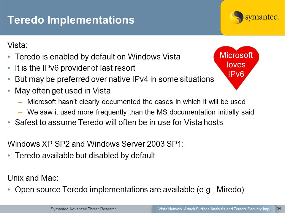 Symantec Advanced Threat ResearchVista Network Attack Surface Analysis and Teredo Security Impl.39 Teredo Implementations Vista: Teredo is enabled by