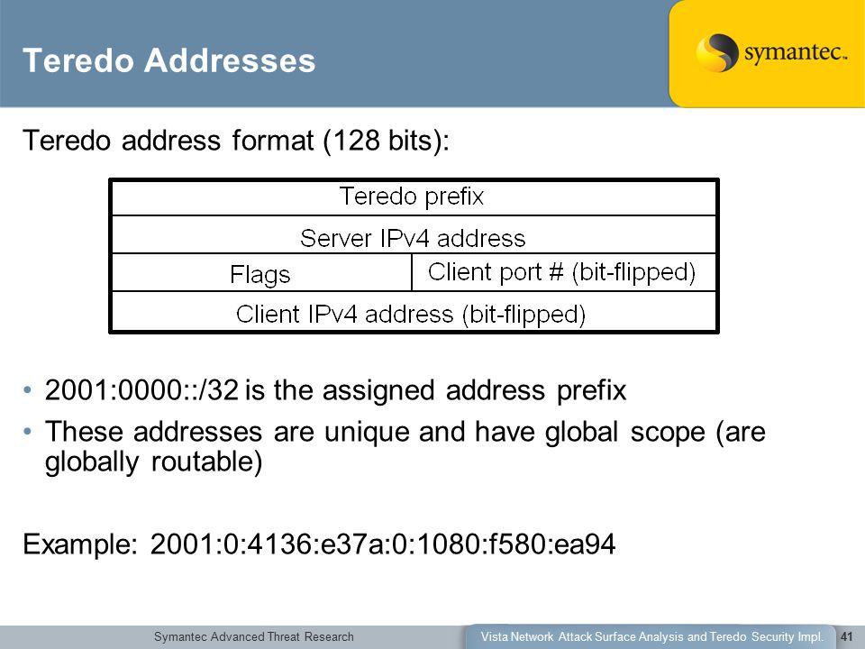 Symantec Advanced Threat ResearchVista Network Attack Surface Analysis and Teredo Security Impl.41 Teredo Addresses Teredo address format (128 bits):