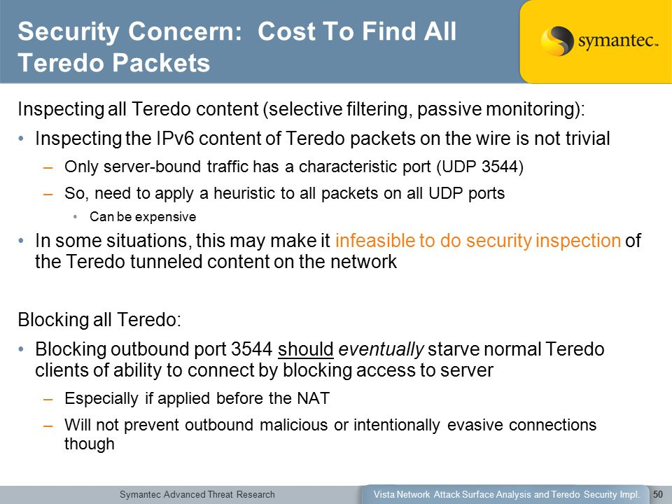 Symantec Advanced Threat ResearchVista Network Attack Surface Analysis and Teredo Security Impl.50 Security Concern: Cost To Find All Teredo Packets I