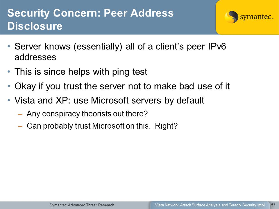Symantec Advanced Threat ResearchVista Network Attack Surface Analysis and Teredo Security Impl.53 Security Concern: Peer Address Disclosure Server kn