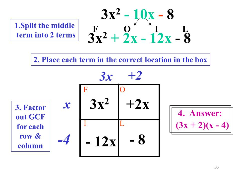 9 Step 1: Multiply first*last 3x 2 - 10x - 8 first last 3 x 8 = 24 Step 2. Find all the factors of 24 24Subtraction example example 1 * 24 2 * 12 3 *