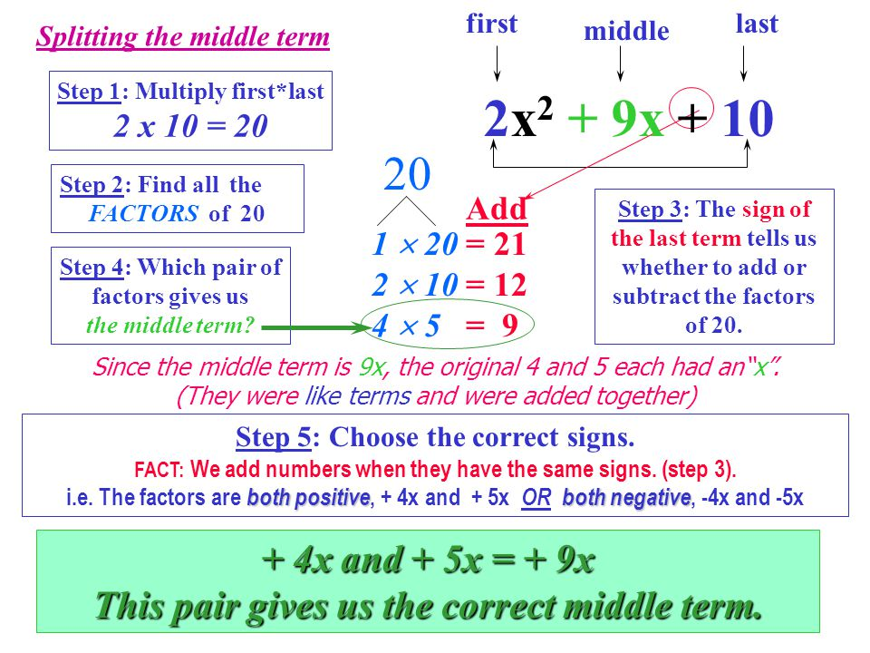 6 II. Factoring a Trinomial of the form: ax 2 + bx + c 3 terms: 2x 2 + 9x + 10 First (a) Middle (b) Last (c) First, we will split the middle term into