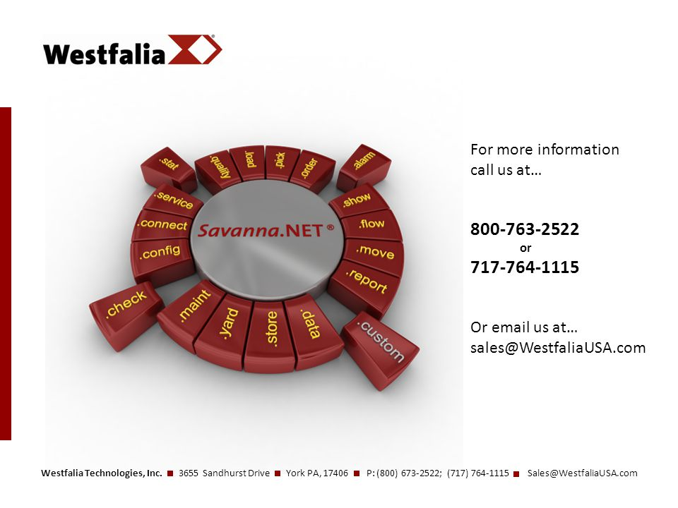Westfalia Technologies, Inc. 3655 Sandhurst Drive York PA, 17406 P: (800) 673-2522; (717) 764-1115 Sales@WestfaliaUSA.com For more information call us