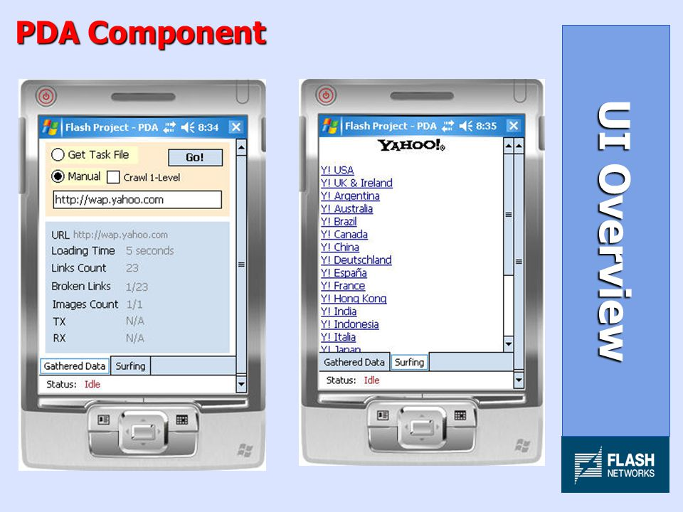 PDA Component UI Overview