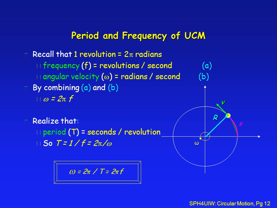 SPH4UIW: Circular Motion, Pg 12 Period and Frequency of UCM l Recall that 1 revolution = 2  radians è frequency (f) = revolutions / second (a)  angular velocity (  ) = radians / second (b) l By combining (a) and (b)   = 2  f l Realize that: è period (T) = seconds / revolution  So T = 1 / f = 2  /  R v s   = 2  / T = 2  f