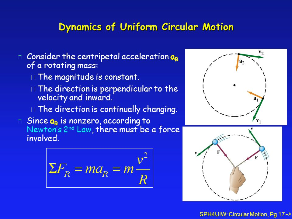 SPH4UIW: Circular Motion, Pg 17 Dynamics of Uniform Circular Motion l Consider the centripetal acceleration a R of a rotating mass: è The magnitude is constant.