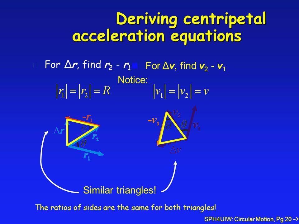 SPH4UIW: Circular Motion, Pg 20 Deriving centripetal acceleration equations Deriving centripetal acceleration equations l For Δr, find r 2 - r 1 For Δv, find v 2 - v 1 Similar triangles.