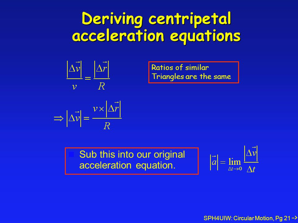 SPH4UIW: Circular Motion, Pg 21 Deriving centripetal acceleration equations Sub this into our original acceleration equation. -> Ratios of similar Tri