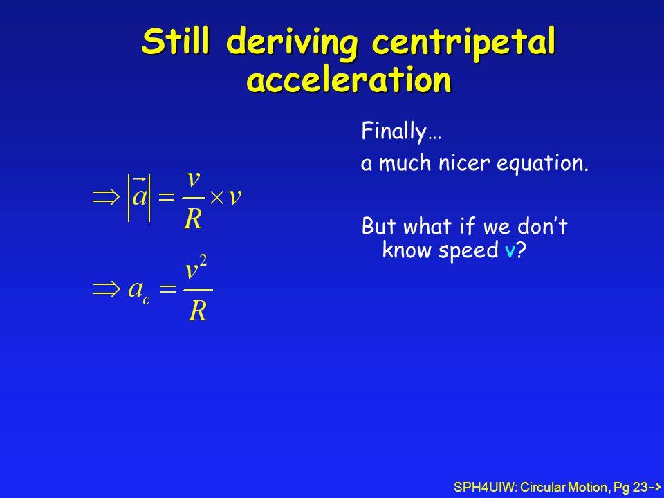 SPH4UIW: Circular Motion, Pg 23 Still deriving centripetal acceleration Finally… a much nicer equation.