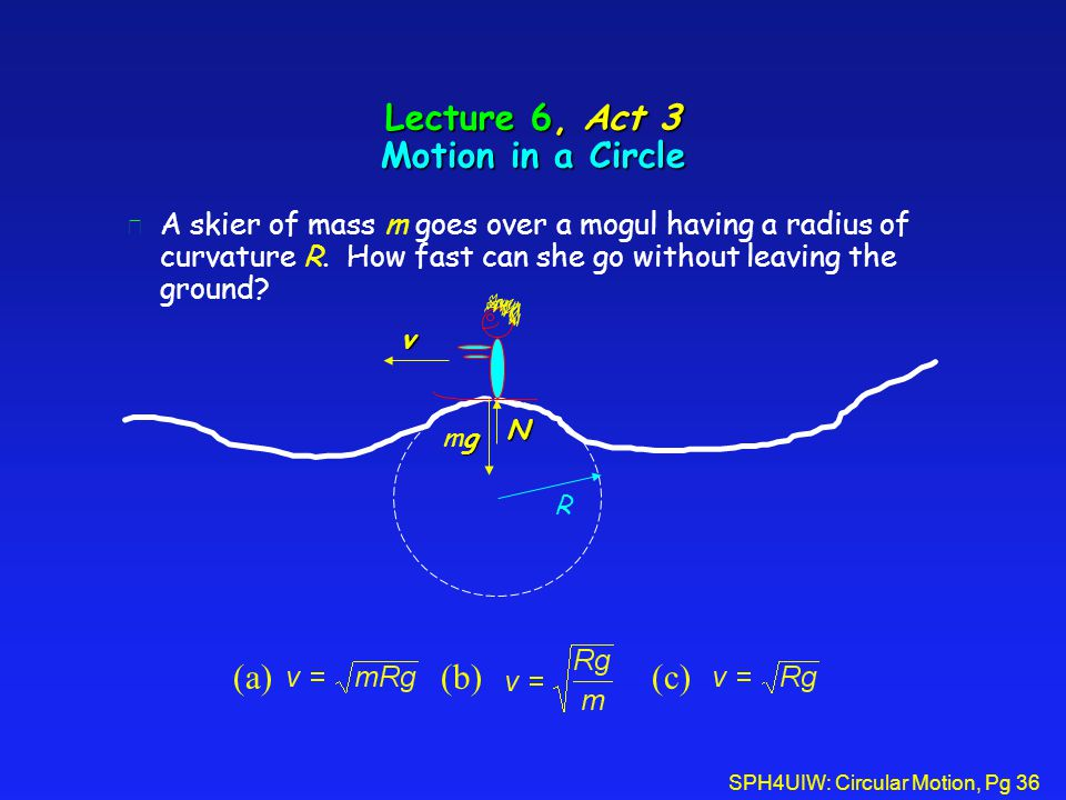 SPH4UIW: Circular Motion, Pg 36 Lecture 6, Act 3 Motion in a Circle l A skier of mass m goes over a mogul having a radius of curvature R. How fast can