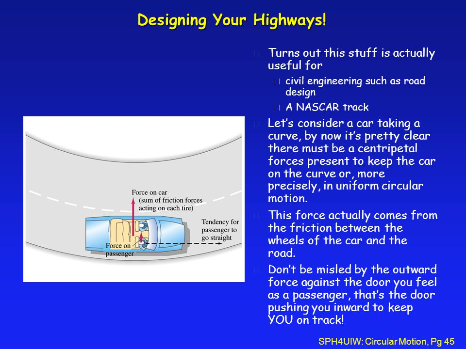 SPH4UIW: Circular Motion, Pg 45 Designing Your Highways.