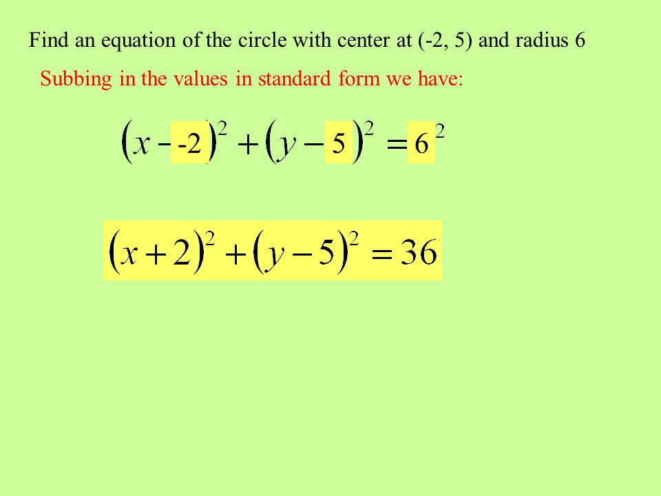 Find an equation of the circle with center at (-2, 5) and radius 6 Subbing in the values in standard form we have: -256