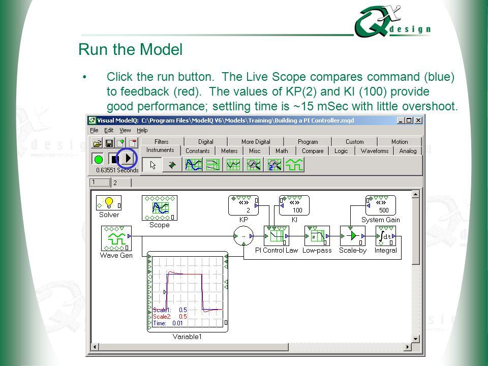 © 2002 QxDesign, Inc.Run the Model Click the run button.